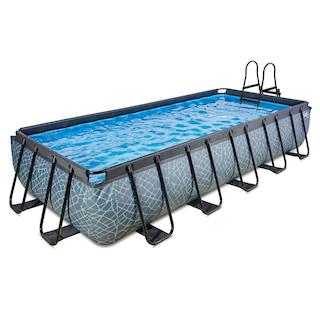EXIT Stone zwembad 540x250cm met zandfilterpomp - grijs