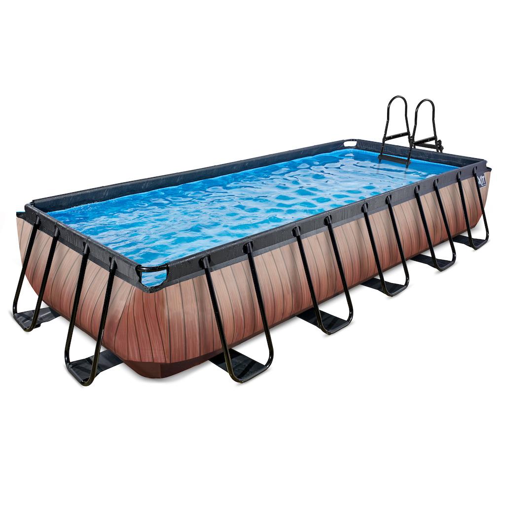 EXIT Wood zwembad 540x250cm met zandfilterpomp - bruin
