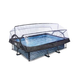EXIT Stone zwembad 220x150x65cm met overkapping en filterpomp - grijs