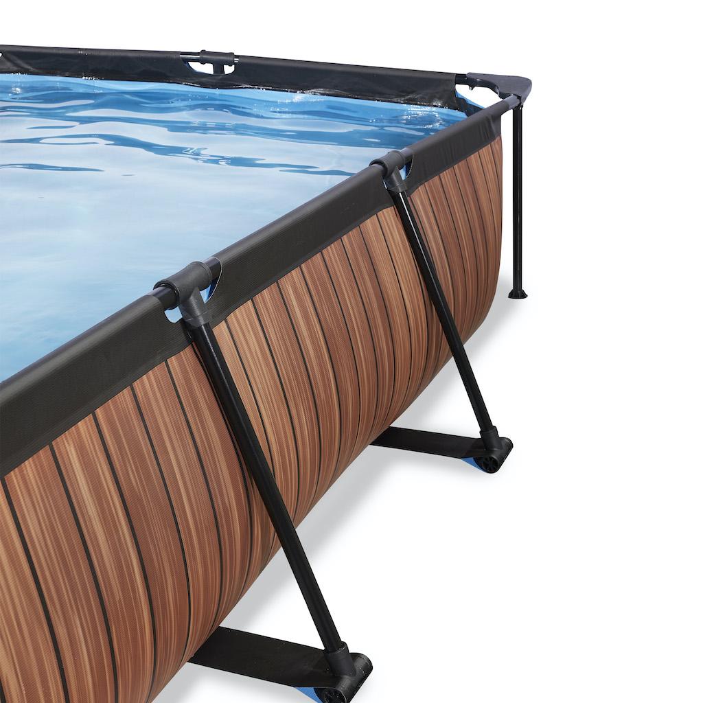 EXIT Wood zwembad 220x150x65cm met overkapping en filterpomp - bruin