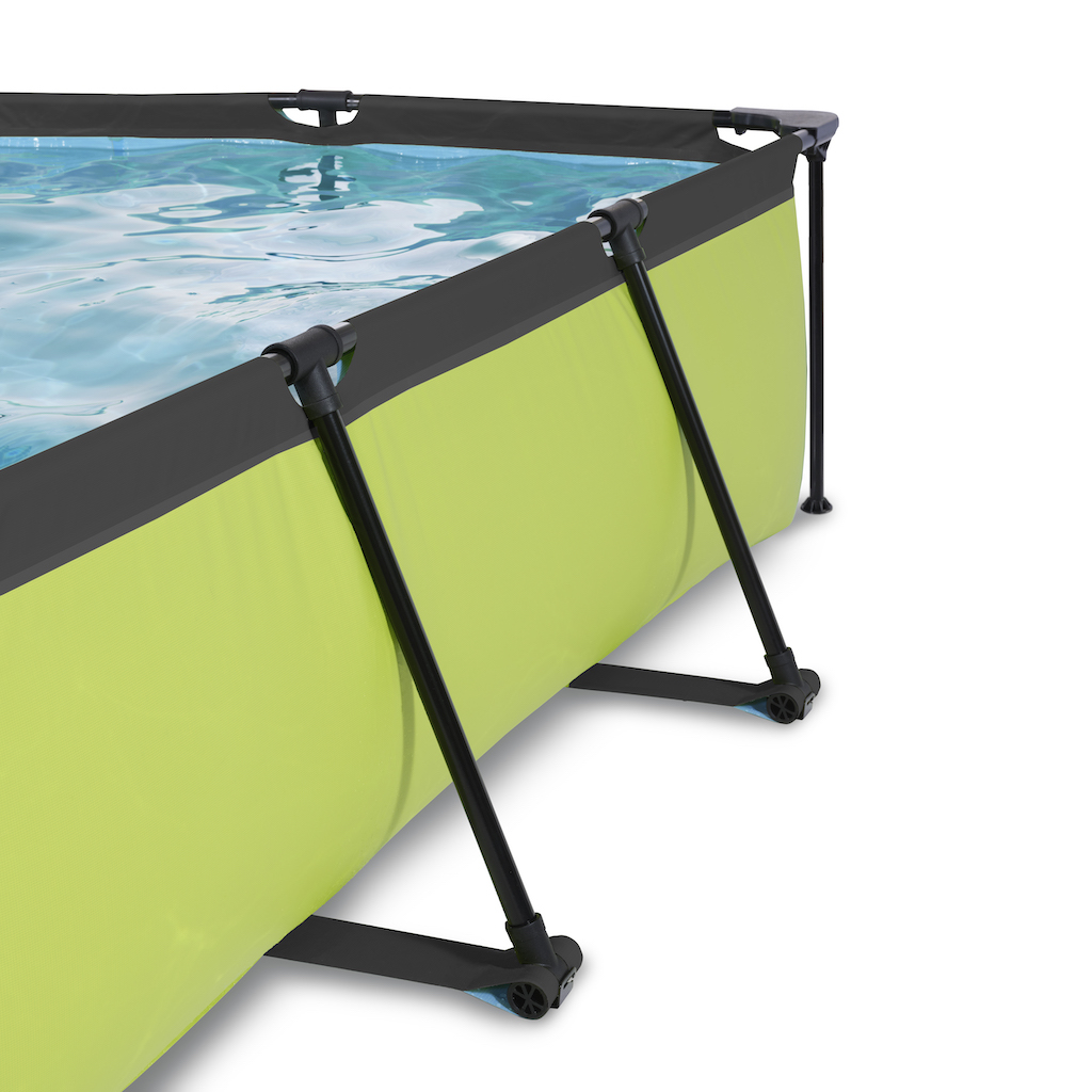 EXIT Piscine à la chaux 220x150x65cm avec auvent et pompe de filtration - vert