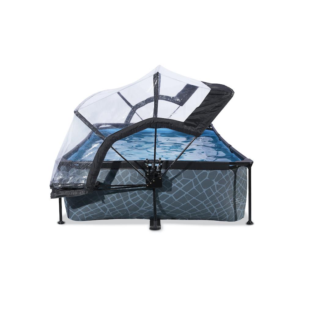 EXIT Stone pool 300x200x65cm avec couvercle et pompe de filtration - gris