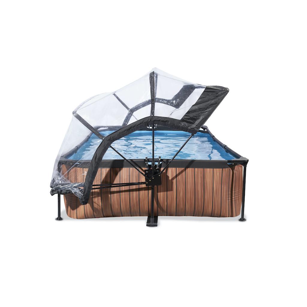 EXIT Wood zwembad 300x200x65cm met overkapping en filterpomp - bruin