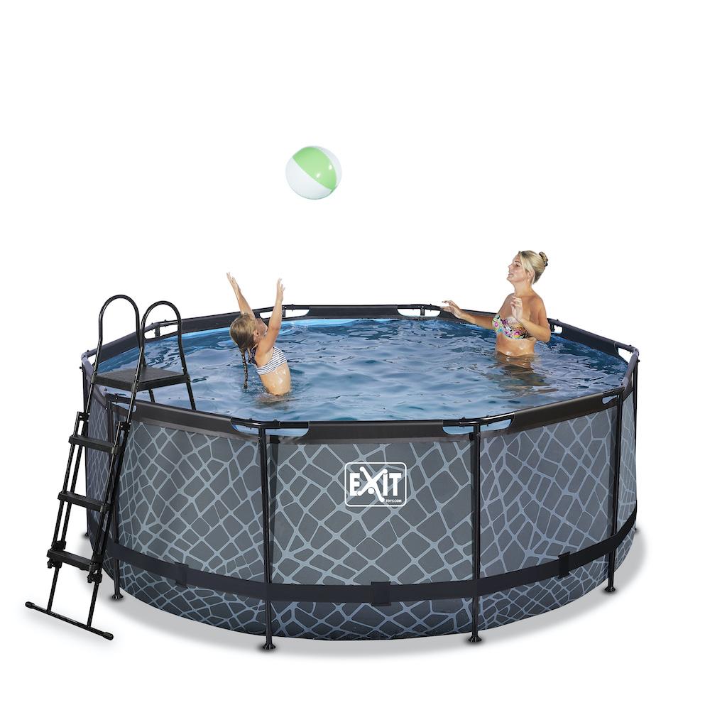 EXIT Stone zwembad ø360x122cm met filterpomp - grijs