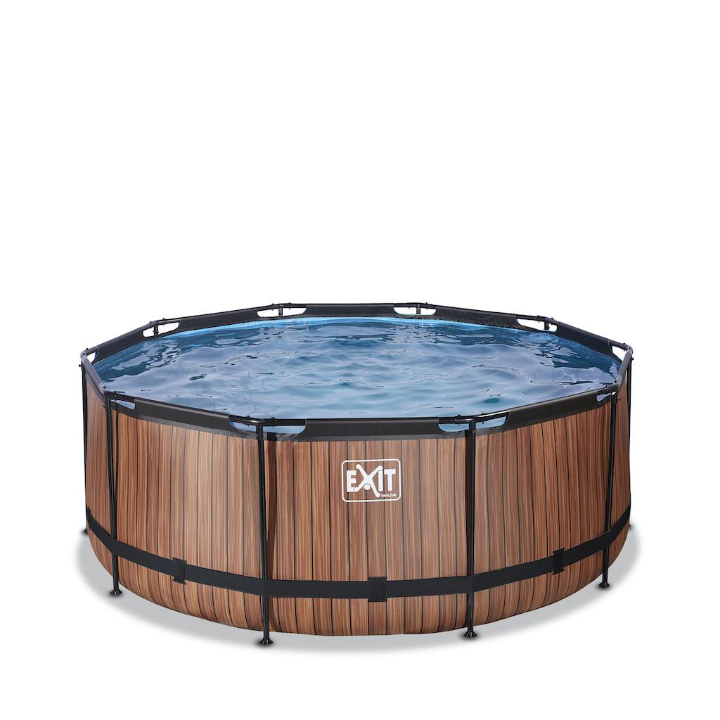 EXIT Piscine bois ø360x122cm avec pompe filtrante - marron