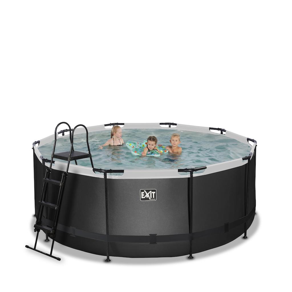 EXIT Black Leather zwembad ø360x122cm met filterpomp - zwart