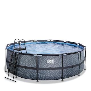 EXIT Stone zwembad ø427x122cm met filterpomp - grijs