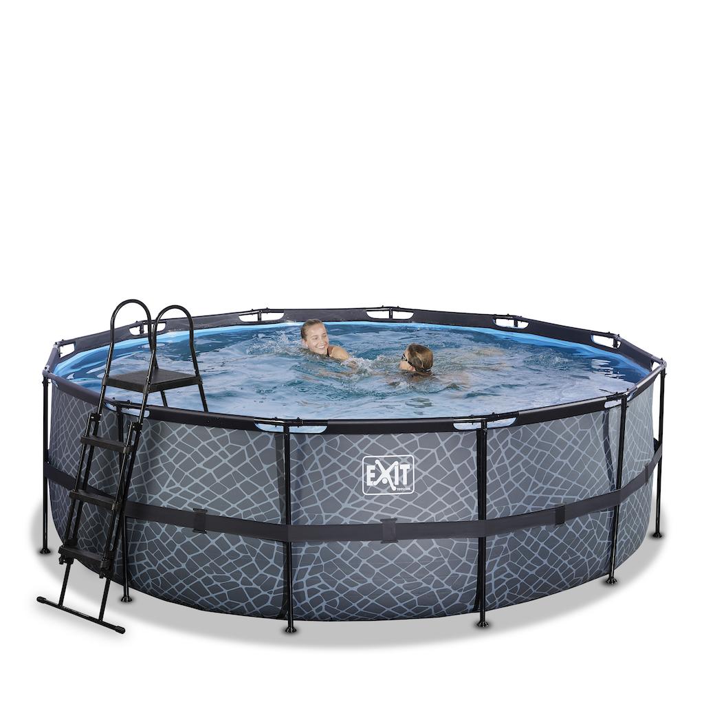 EXIT Stone piscine ø427x122cm avec pompe de filtration - gris