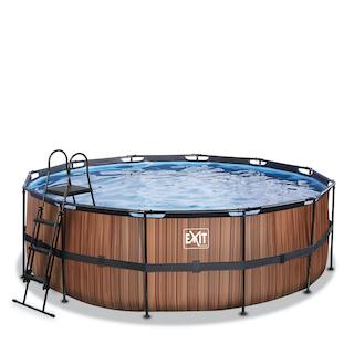 EXIT Wood zwembad ø427x122cm met filterpomp - bruin