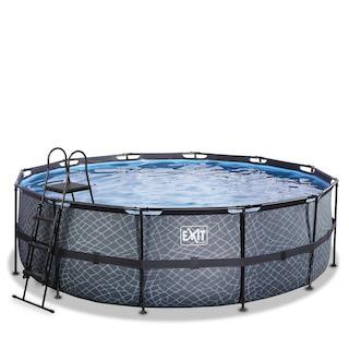 EXIT Stone zwembad ø450x122cm met filterpomp - grijs