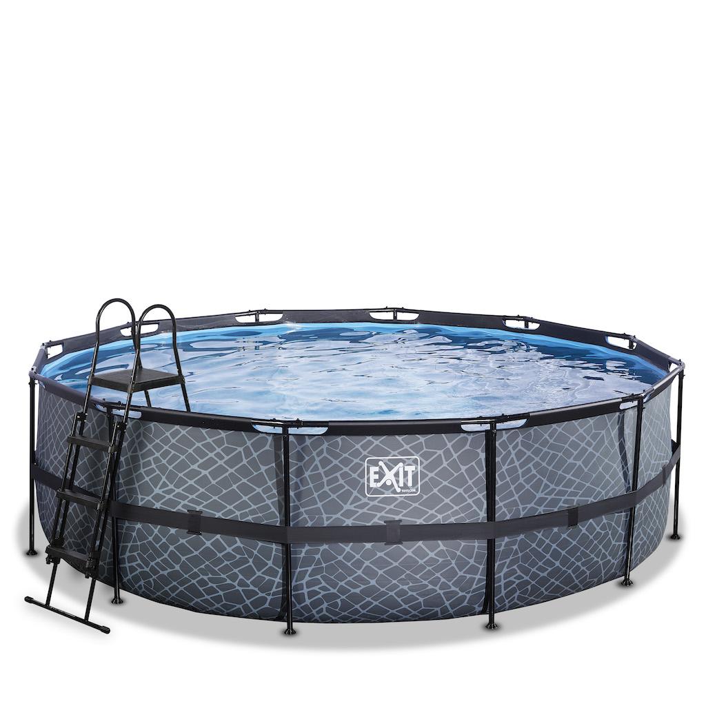 EXIT Stone pool ø450x122cm avec pompe de filtration - gris