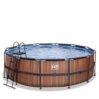 EXIT Wood zwembad ø450x122cm met filterpomp - bruin