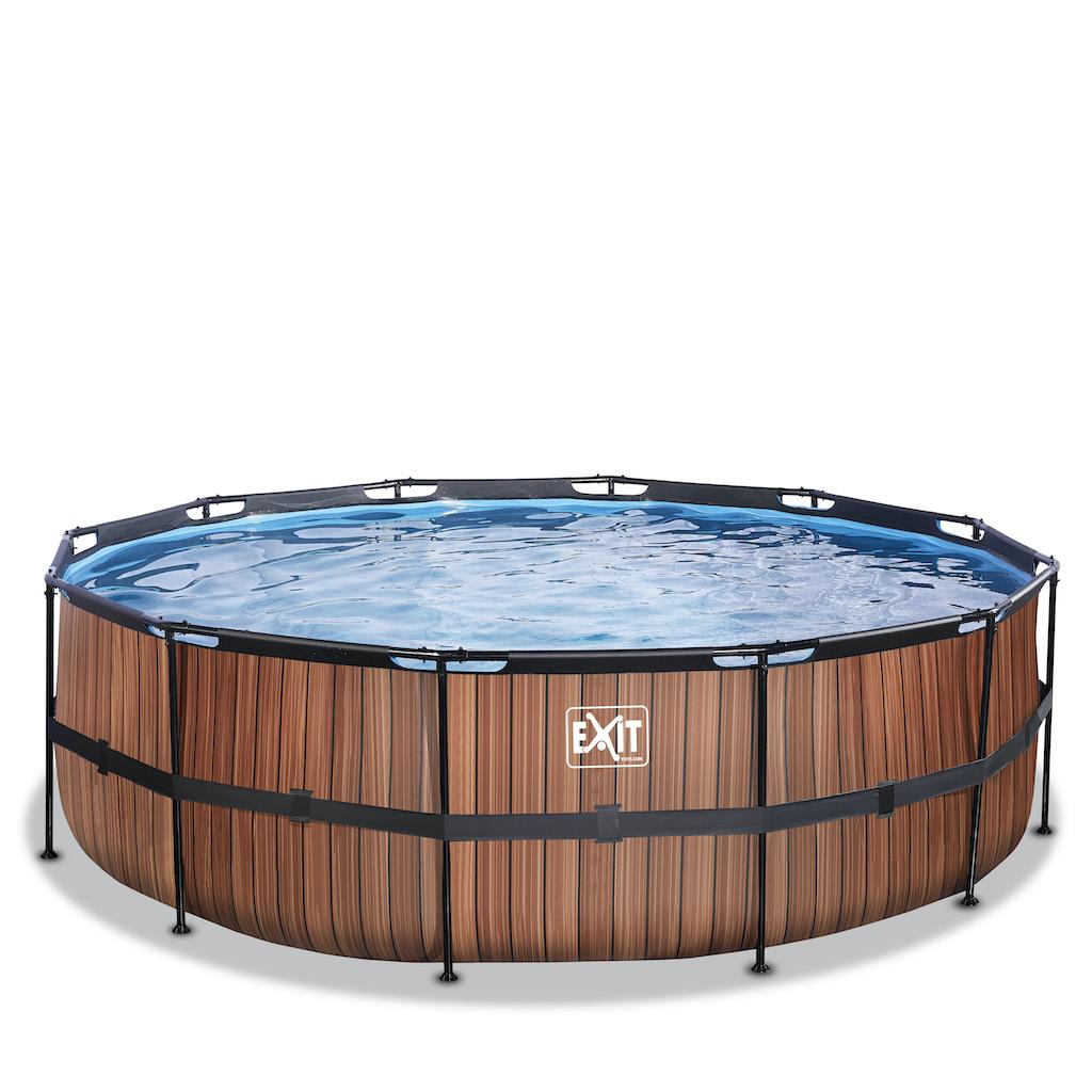 EXIT Piscine bois ø450x122cm avec pompe filtrante - marron