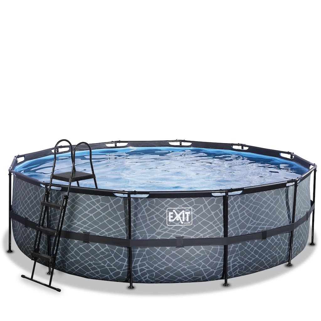 EXIT Stone zwembad ø488x122cm met filterpomp - grijs