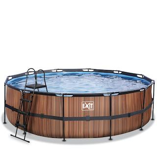 EXIT Wood zwembad ø488x122cm met filterpomp - bruin