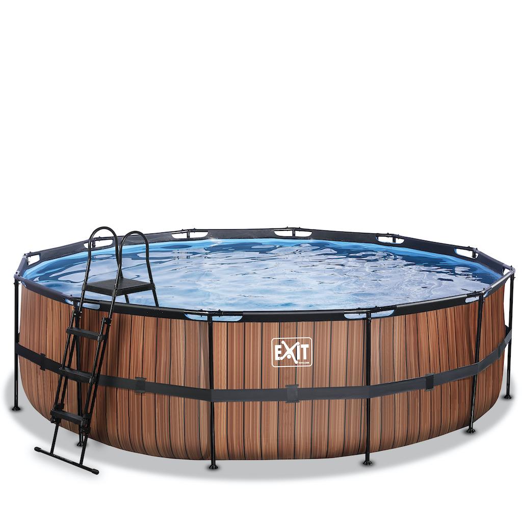 EXIT Piscine bois ø488x122cm avec pompe filtrante - marron