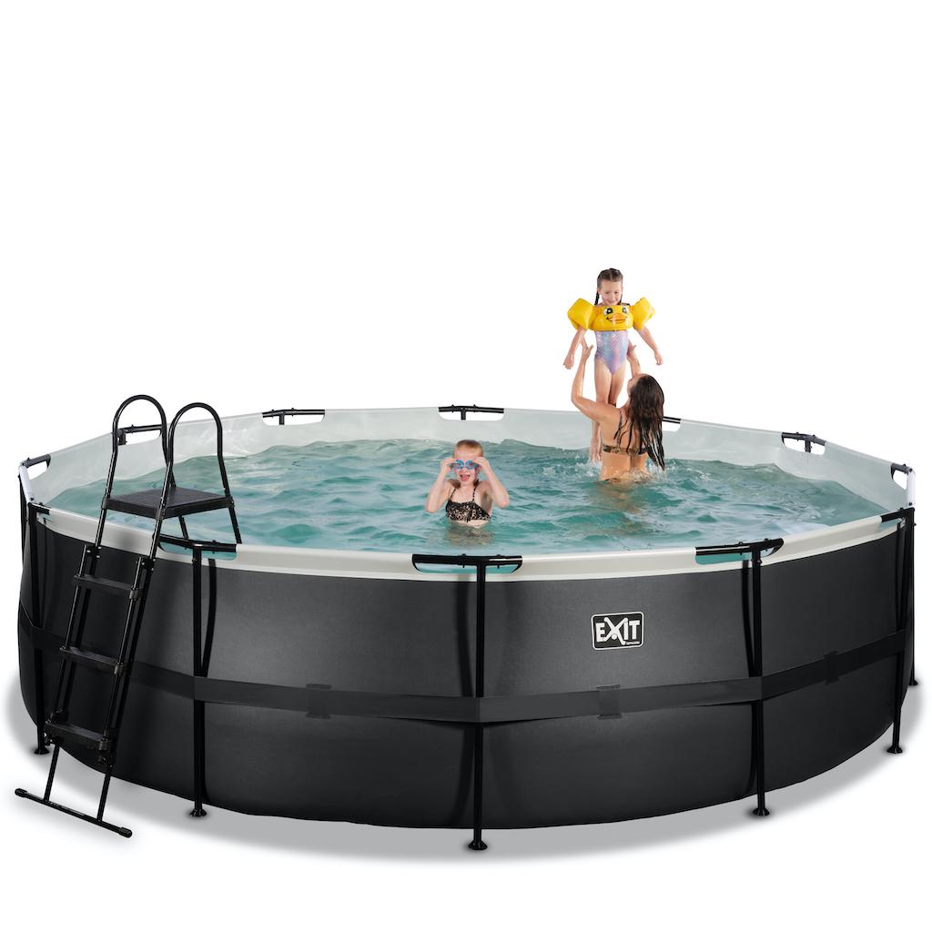 EXIT Black Leather zwembad ø488x122cm met filterpomp - zwart