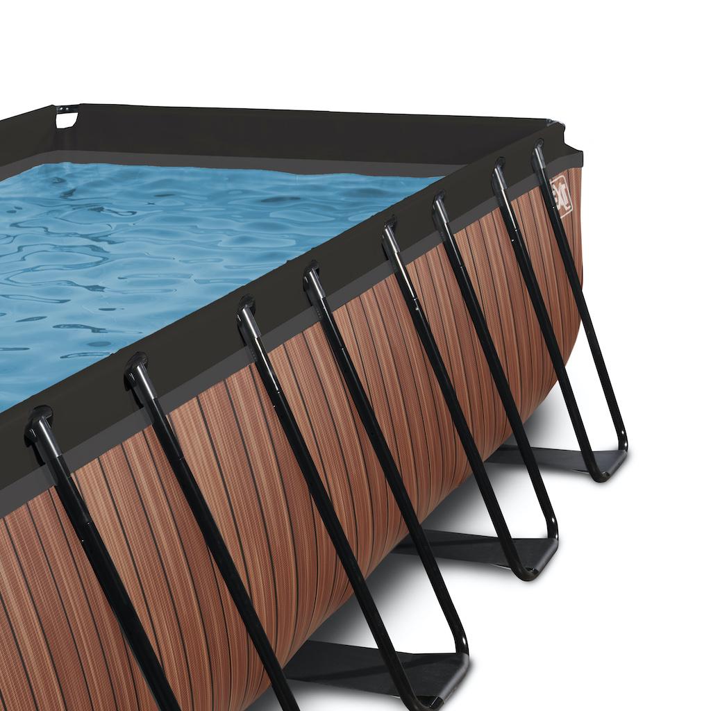 EXIT Piscine bois 400x200x122cm avec pompe filtrante - marron