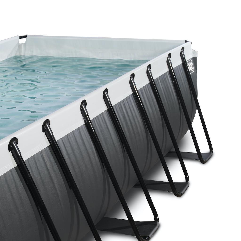 EXIT Piscine en cuir noir 400x200x122cm avec pompe de filtration - noir