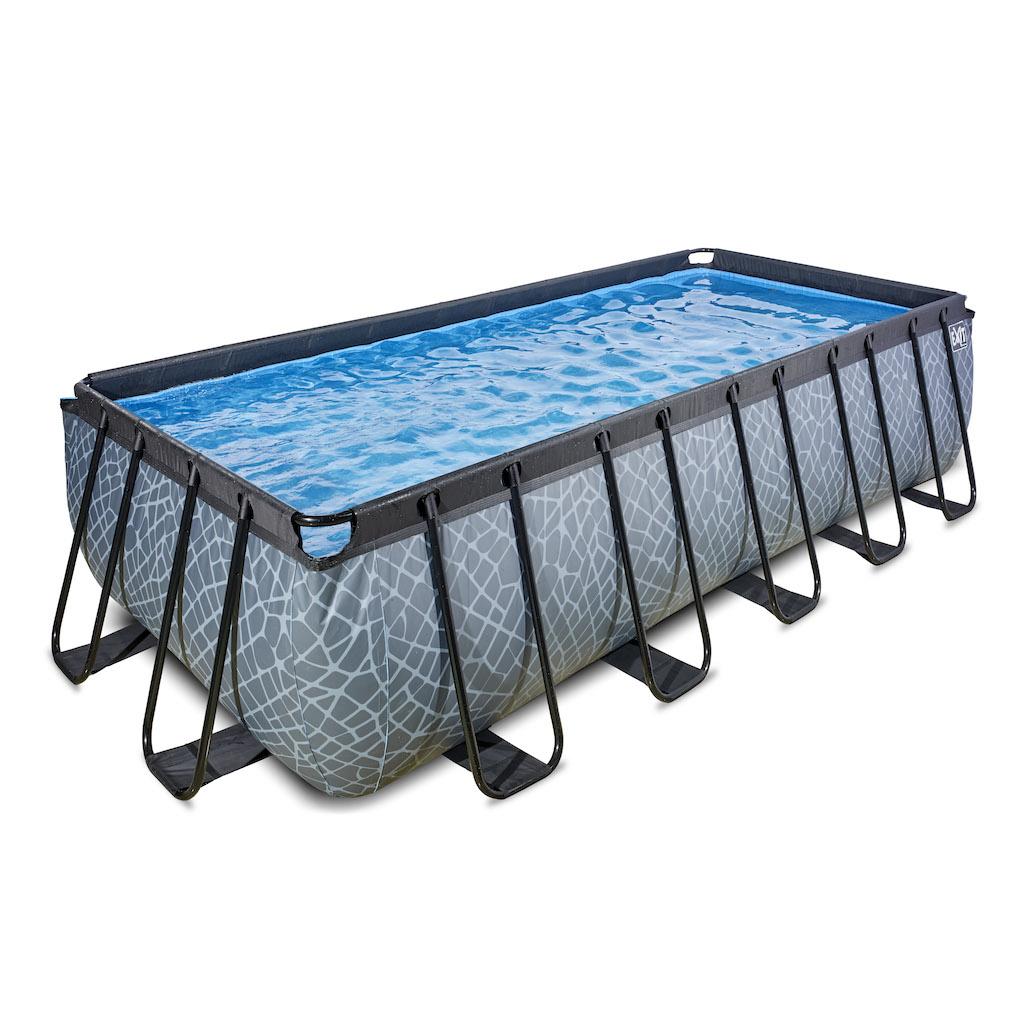 EXIT Stone zwembad 540x250x122cm met filterpomp - grijs