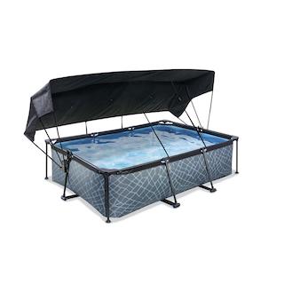 EXIT Stone zwembad 220x150x65cm met schaduwdoek en filterpomp - grijs