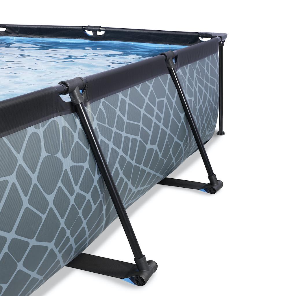 EXIT Stone pool 220x150x65cm avec toile d'ombrage et pompe à filtre - gris