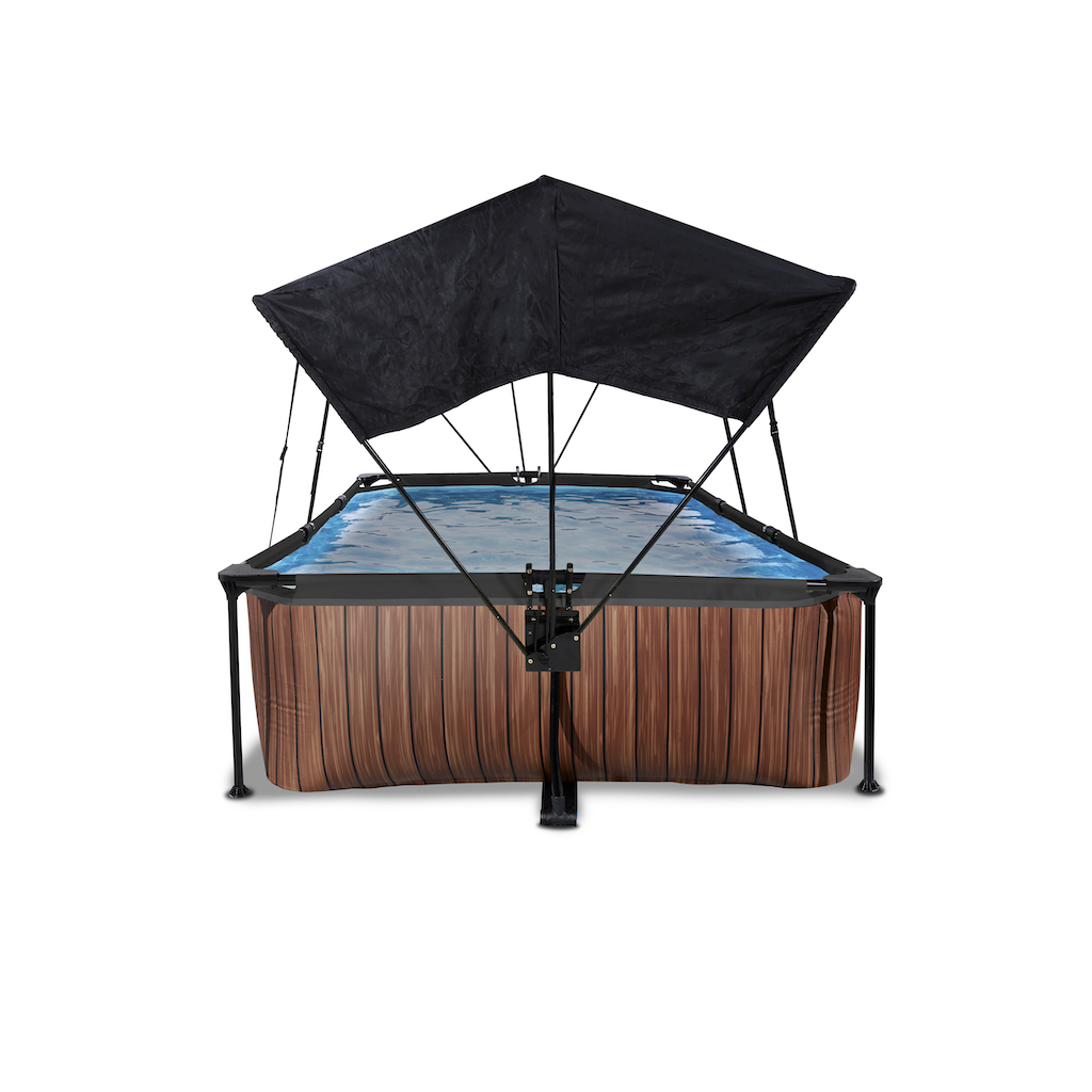 EXIT Piscine bois 220x150x65cm avec toile d'ombrage et pompe filtrante - marron