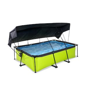 EXIT Lime zwembad 220x150x65cm met schaduwdoek en filterpomp - groen