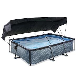 EXIT Stone zwembad 300x200x65cm met schaduwdoek en filterpomp - grijs