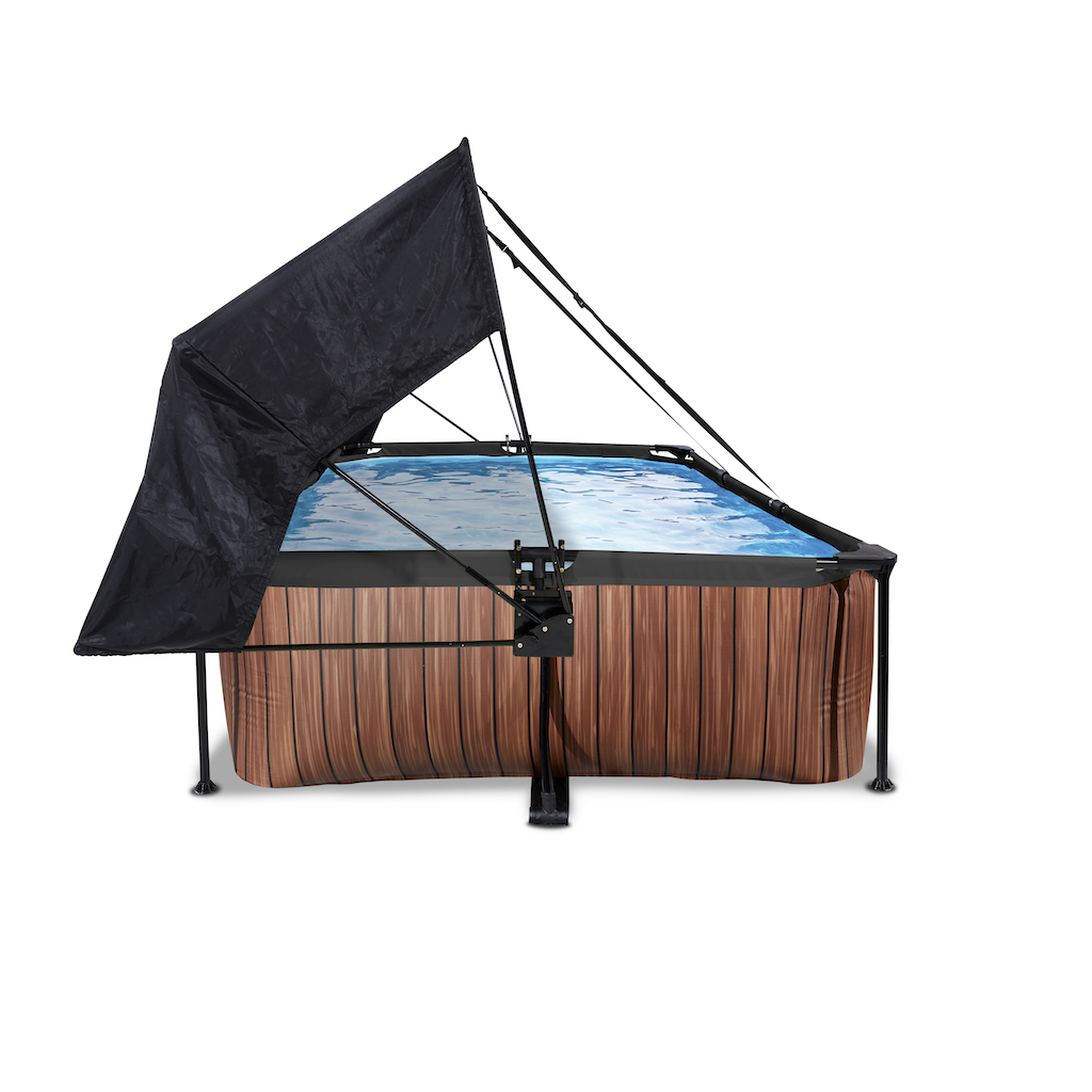 EXIT Piscine bois 300x200x65cm avec toile d'ombrage et pompe filtrante - marron