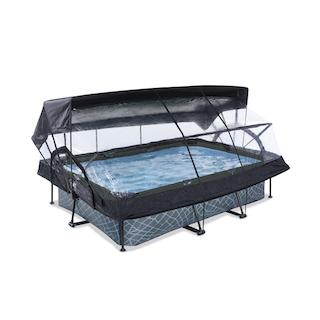 EXIT Stone zwembad 220x150x65cm met overkapping, schaduwdoek en filterpomp - grijs