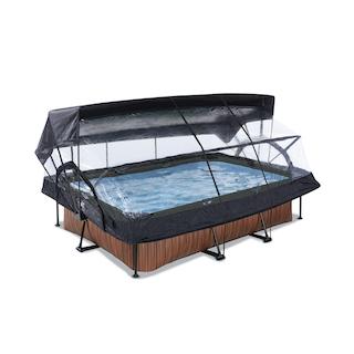 EXIT Wood zwembad 220x150x65cm met overkapping, schaduwdoek en filterpomp - bruin