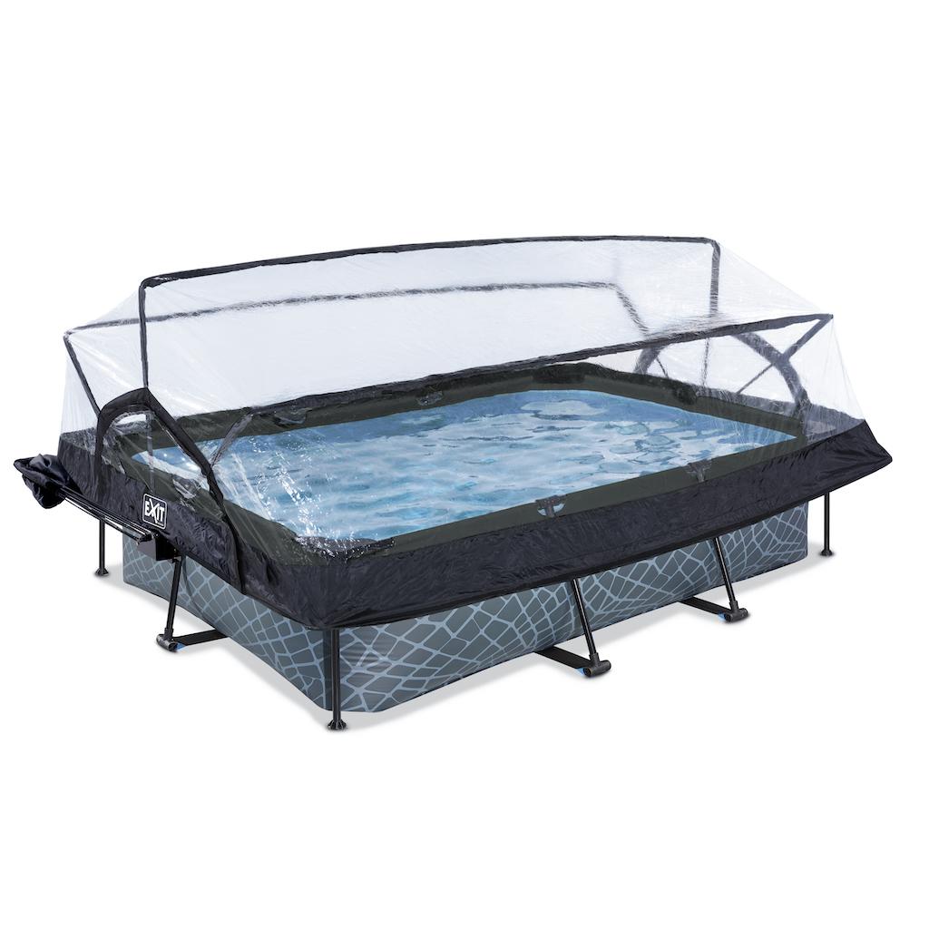 EXIT Stone zwembad 300x200x65cm met overkapping, schaduwdoek en filterpomp - grijs