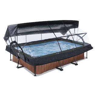 EXIT Wood zwembad 300x200x65cm met overkapping, schaduwdoek en filterpomp - bruin