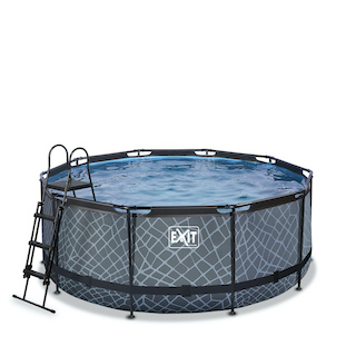 EXIT Stone zwembad ø360x122cm met zandfilterpomp - grijs
