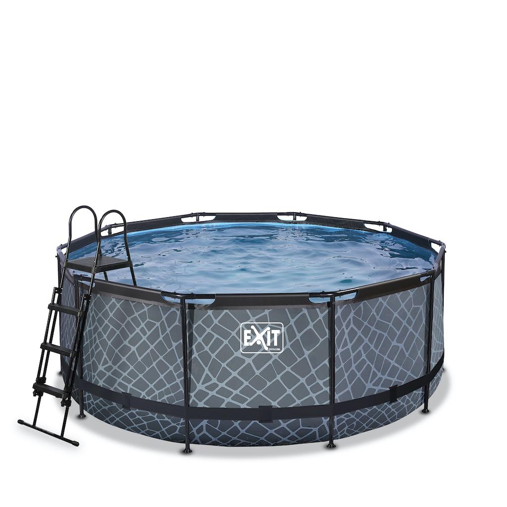 EXIT Stone piscine ø360x122cm avec pompe filtre à sable - gris