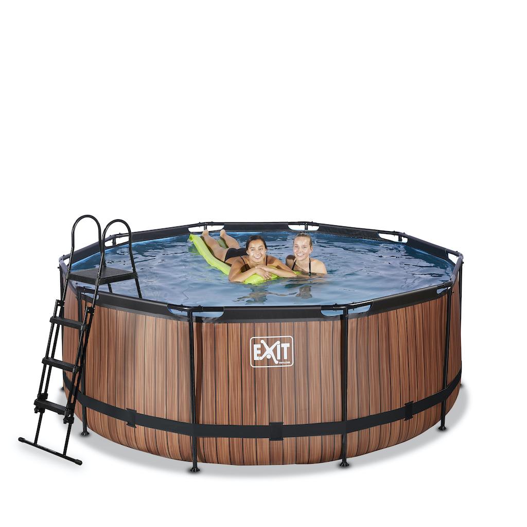 EXIT Wood zwembad ø360x122cm met zandfilterpomp - bruin