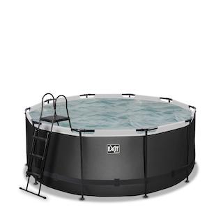 EXIT Black Leather zwembad ø360x122cm met zandfilterpomp - zwart