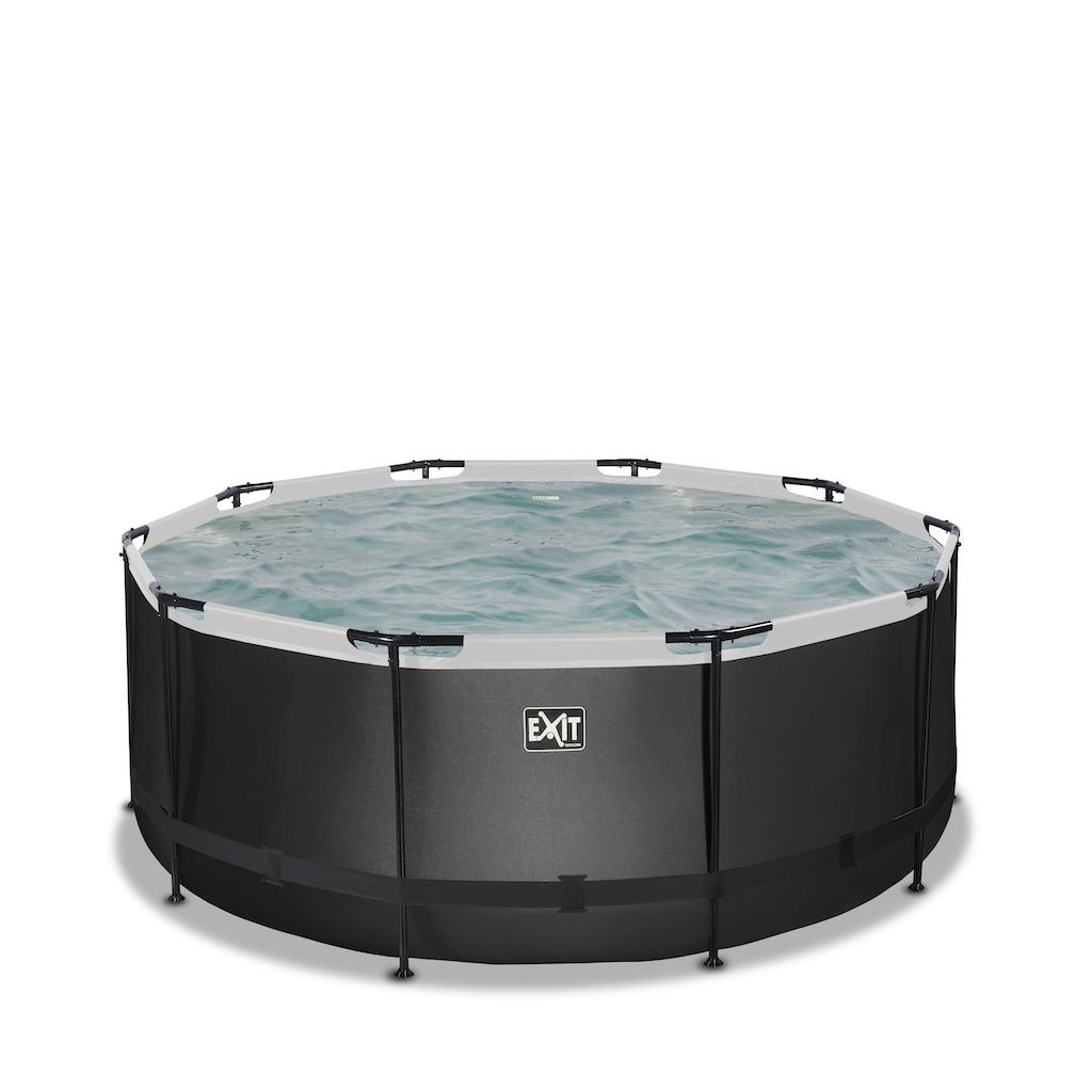 EXIT Piscine en cuir noir ø360x122cm avec pompe filtre à sable - noir