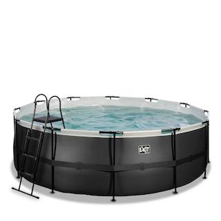 EXIT Black Leather zwembad ø427x122cm met zandfilterpomp - zwart