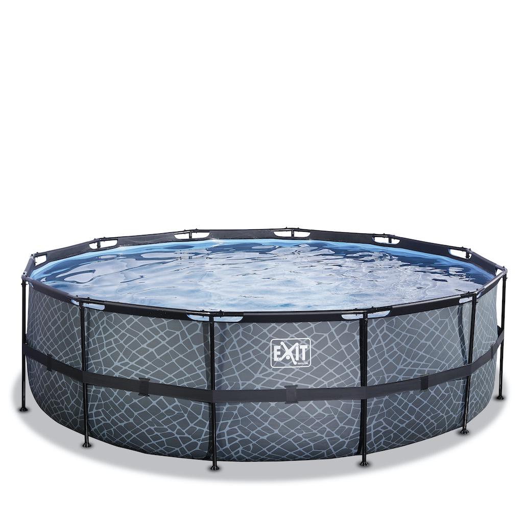EXIT Stone zwembad ø450x122cm met zandfilterpomp - grijs