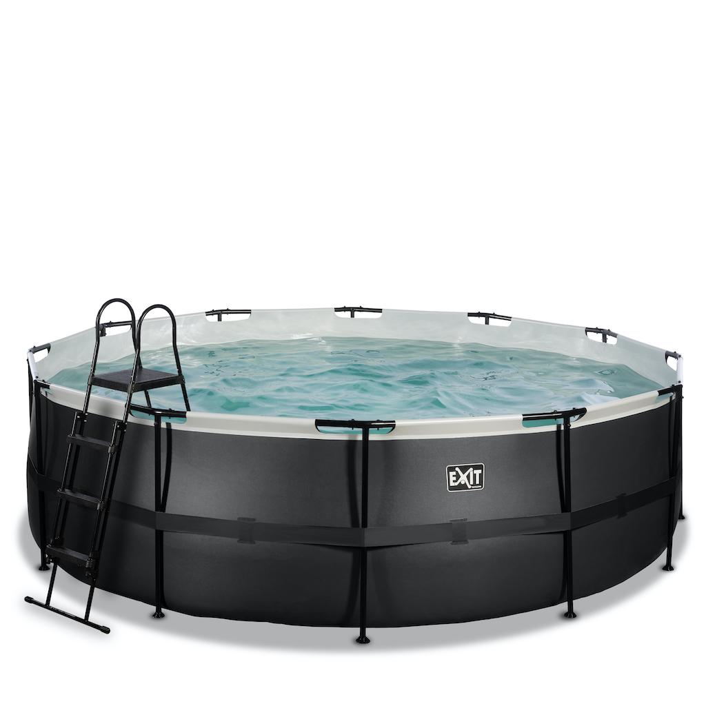 EXIT Black Leather zwembad ø450x122cm met zandfilterpomp - zwart