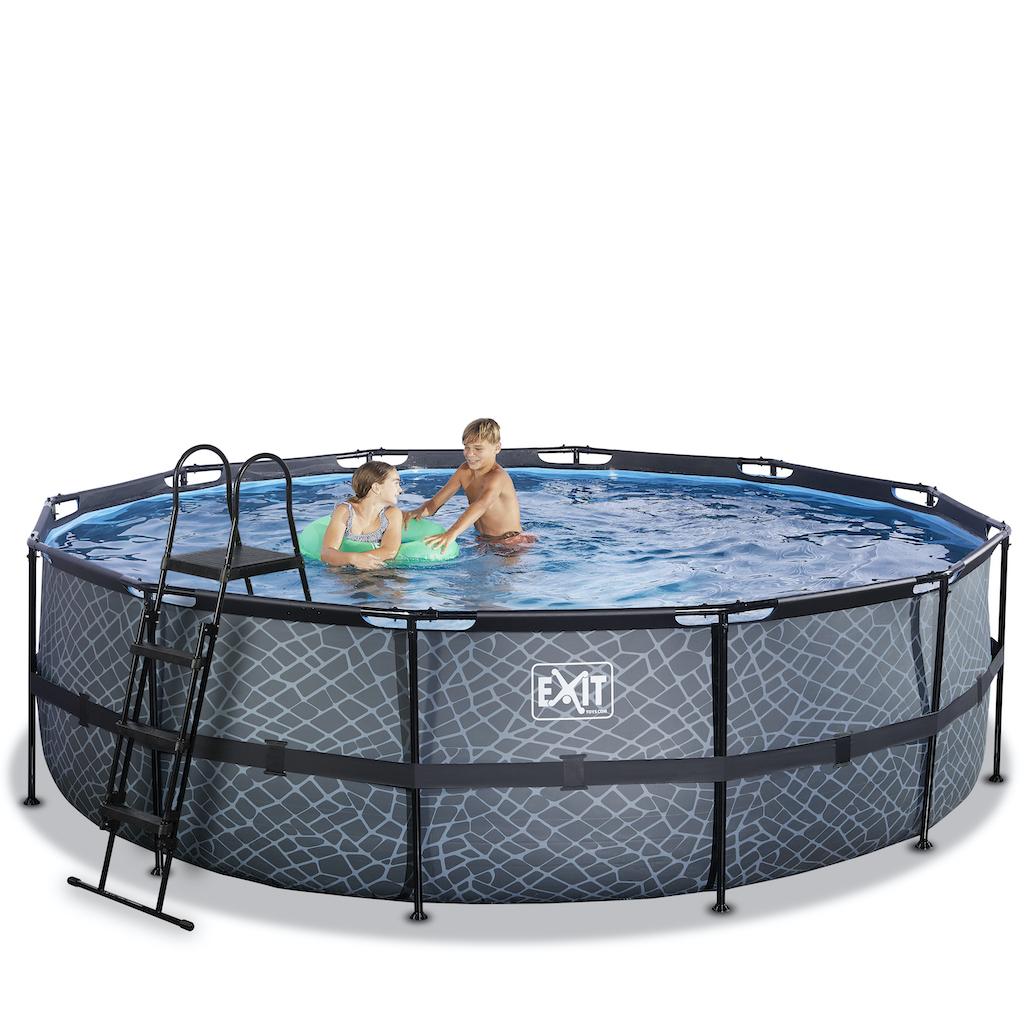 EXIT Stone piscine ø488x122cm avec pompe à sable - gris