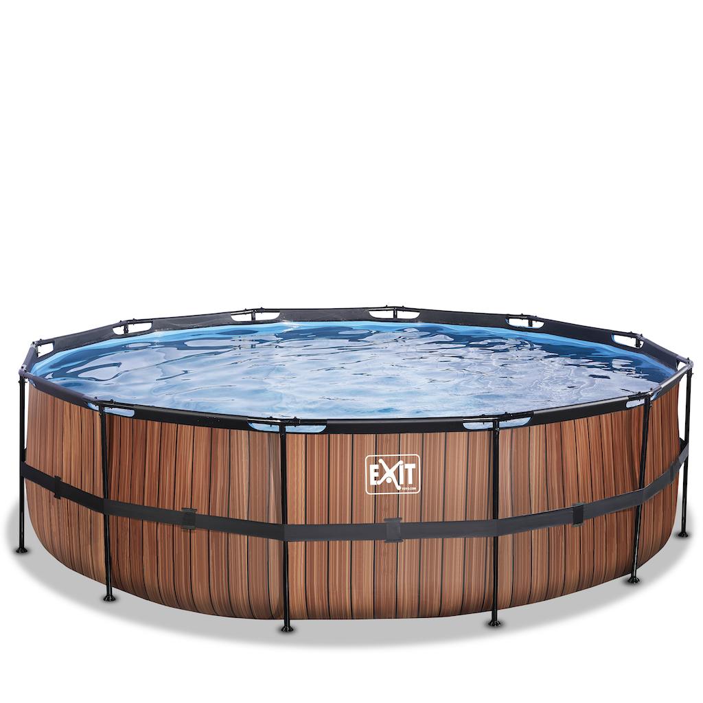 EXIT Wood zwembad ø488x122cm met zandfilterpomp - bruin