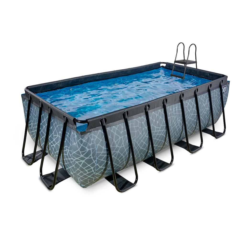 EXIT Stone zwembad 400x200x122cm met zandfilterpomp - grijs