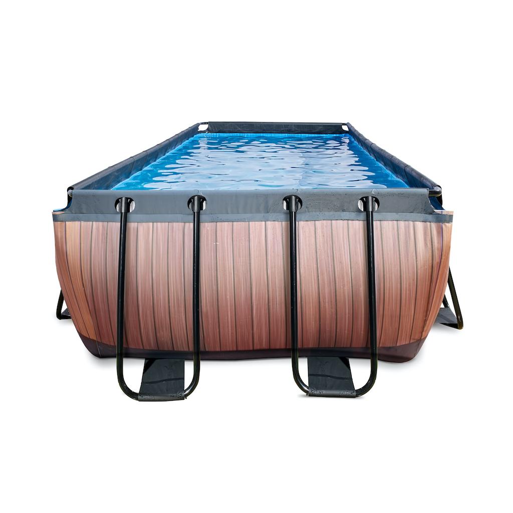 EXIT Wood zwembad 400x200x122cm met zandfilterpomp - bruin