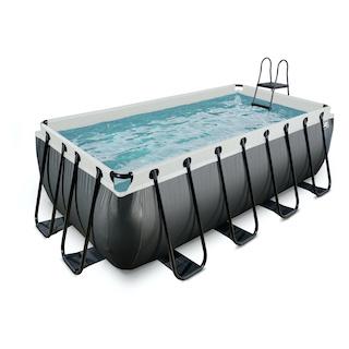 EXIT Black Leather zwembad 400x200x122cm met zandfilterpomp - zwart