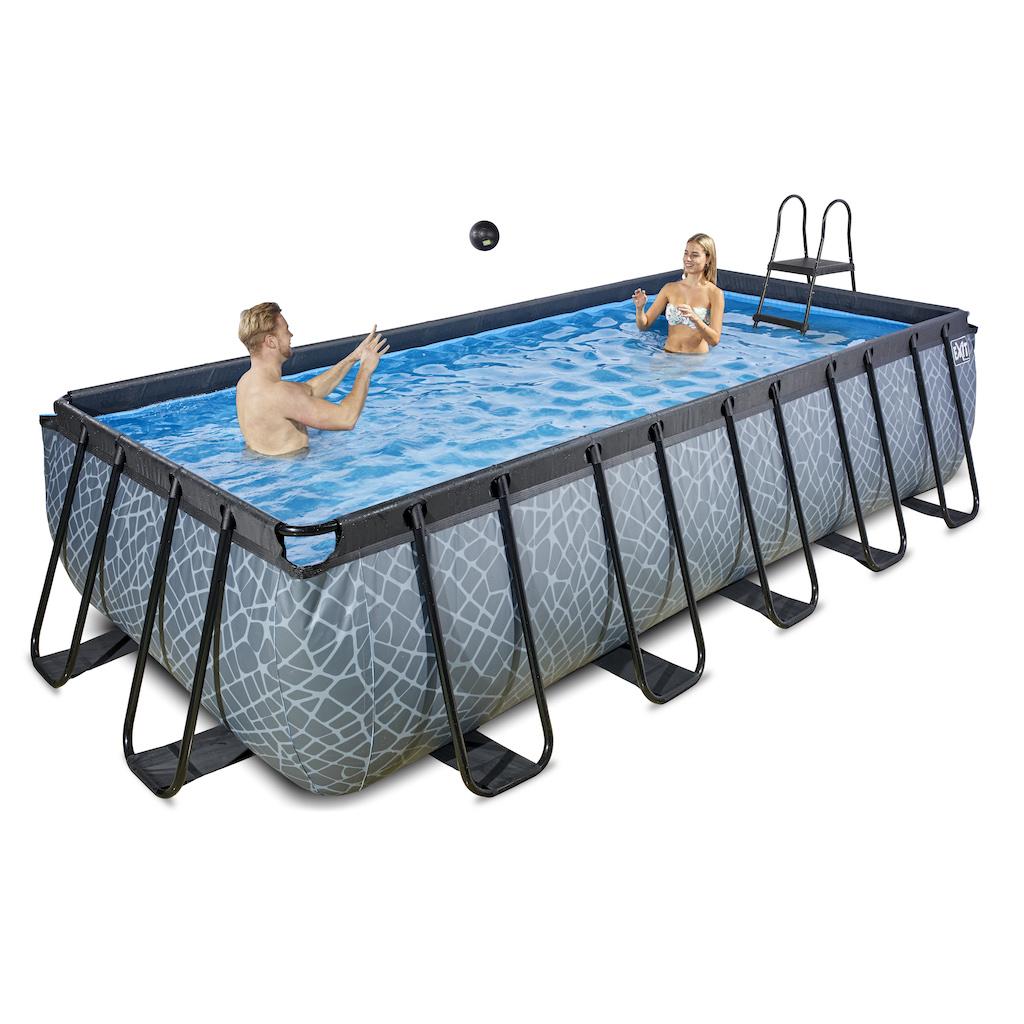 EXIT Stone zwembad 540x250x122cm met zandfilterpomp - grijs