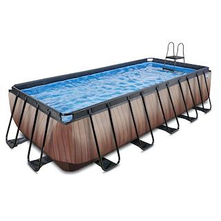 EXIT Wood zwembad 540x250x122cm met zandfilterpomp - bruin