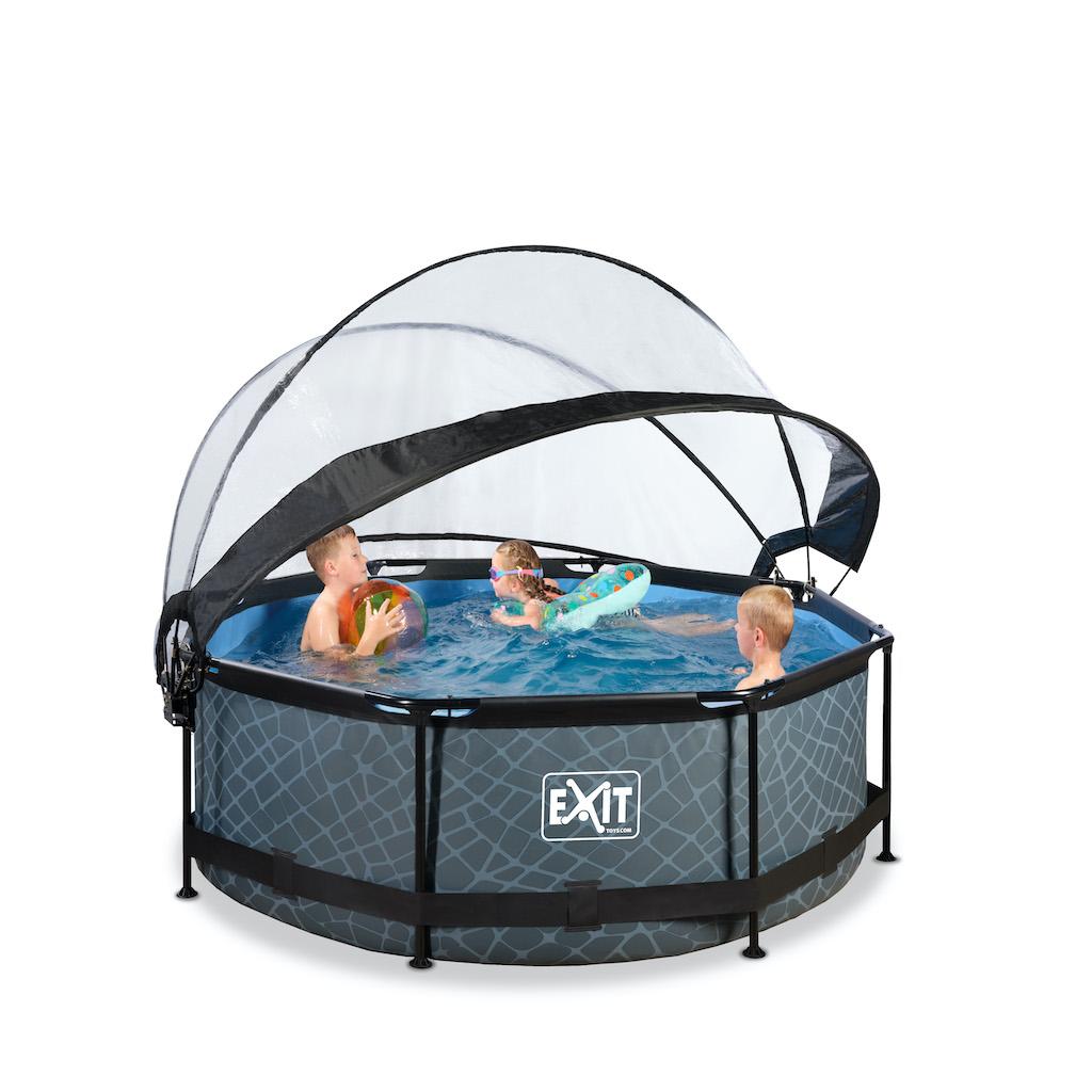 EXIT Stone piscine ø244x76cm avec auvent et pompe de filtration - gris